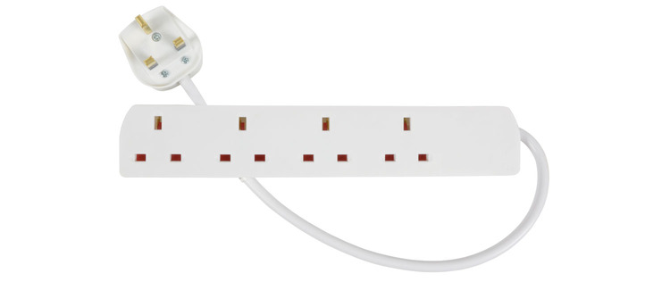 2.0m 4 Gang  Extension LEAD White Image | Metro Solutions
