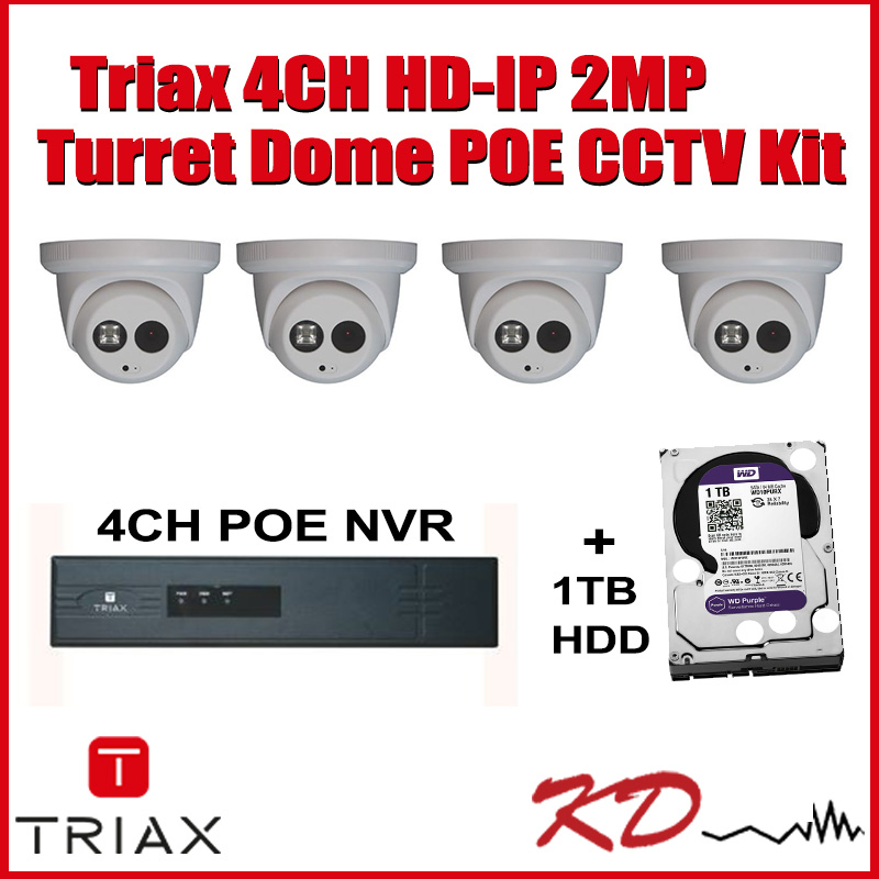 Triax 2MP 4 Camera HD IP CCTV Kit Image | Metro Solutions