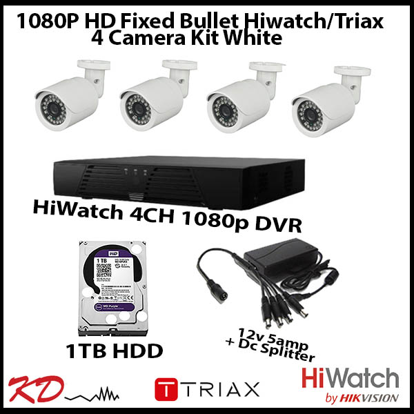 4 Camera CCTV 1080p Fixed Bullet Kit – White Image | Metro Solutions