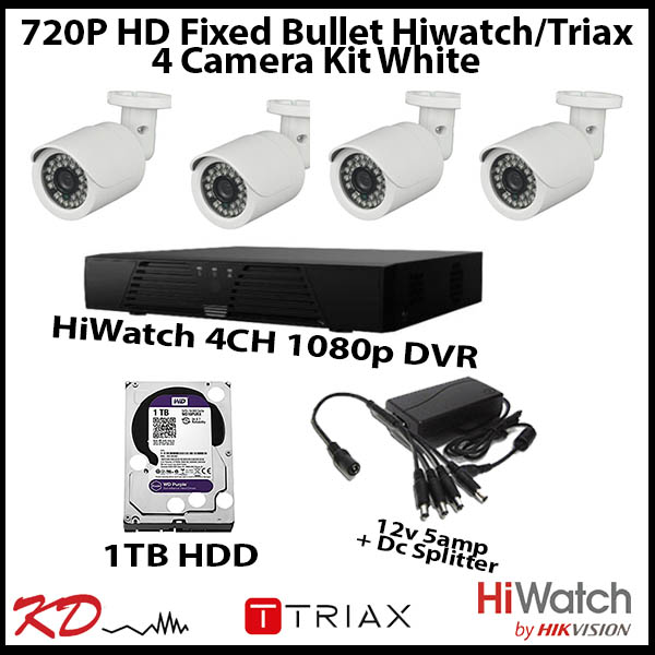 4 Camera CCTV 720p Fixed Bullet Kit – White Image | Metro Solutions